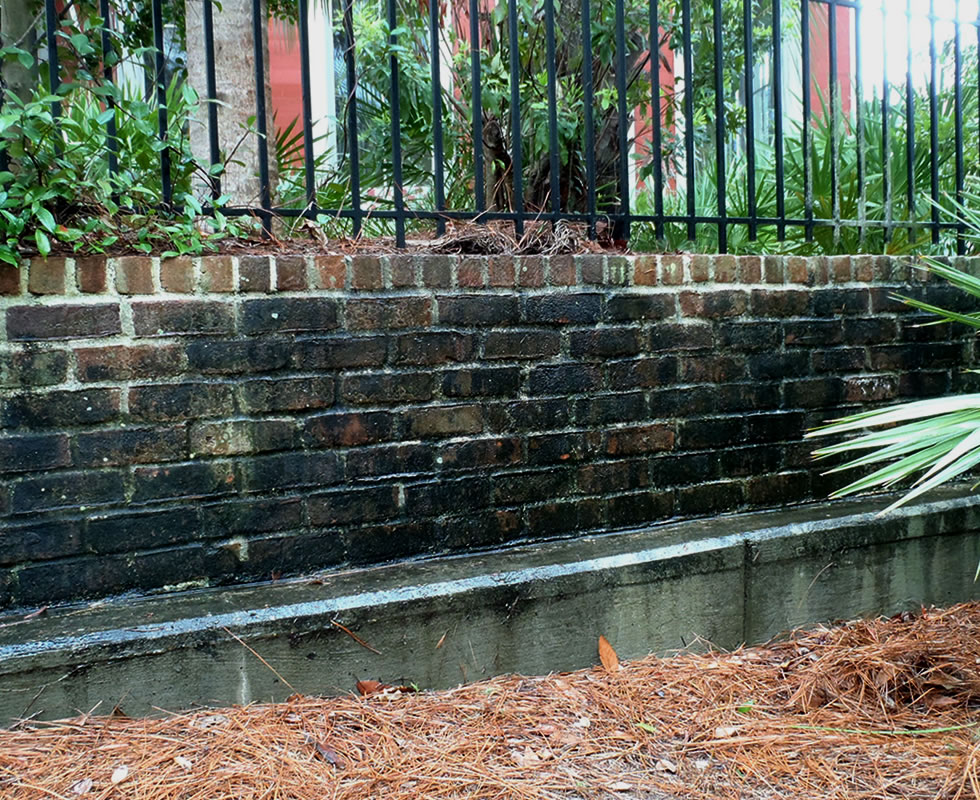 Brick Before Pressure Washing